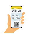boarding pass in mobile phone vector image vector image
