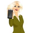 businesswoman displaying her smartphone vector image vector image