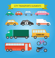 car bus bicycle motorcycle truck taxi police vector image