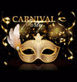 carnival party invitation poster banner golden vector image