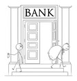 cartoon businessman leaving bank with small vector image