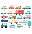 cartoon kids toy cars police ambulance airplane vector image vector image