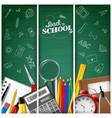 cartoon school supplies on blackboard background vector image