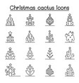 christmas cactus icon set in thin line style vector image