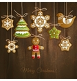 Christmas cookies background vector image vector image