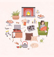 collection of hygge attributes furniture and home vector image