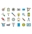 Colorful graphic design icons set vector image vector image