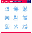 coronavirus awareness icons 9 blue icon corona vector image vector image