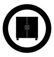 cupboard or cabinet black icon in circle vector image