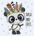 cute cartoon tribal panda with feathers vector image