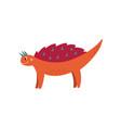 cute orange dinosaur smiling funny animal monster vector image vector image