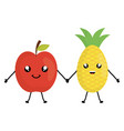 delicious apple and pineapple kawaii characters vector image vector image