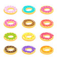 donuts set all kinds multicolor cream vector image