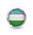 flag of uzbekistan button with metal frame and vector image vector image