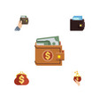 flat icon wallet set of currency purse billfold vector image vector image