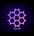 glowing neon chemical formula consisting vector image vector image