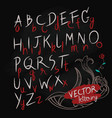 hand drawn letters alphabet blackboard vector image