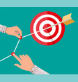 hand of businessman pointing to arrow from target vector image vector image