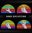 hand retro sunset vector image