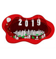 happy new year 2019 with white city on red scene vector image vector image