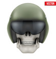 Human skull with Aircraft marshall helmet vector image vector image