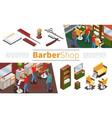 isometric barbershop elements collection vector image vector image