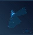 jordan map with cities luminous dots - neon vector image vector image