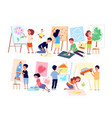 kids drawing pictures children playing craft boy vector image
