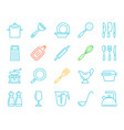 kitchenware simple color line icons set vector image
