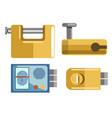 locks and padlocks isolated icons fingerprint vector image vector image