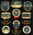 luxury golden retro labels collection 4 vector image vector image