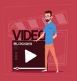 man over vlogger channel screen modern video vector image vector image