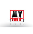 my m y logo letters with red and black colors and vector image