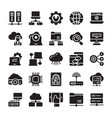 network and cloud computing glyph icons vector image vector image