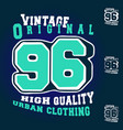 number 96 vintage t shirt print stamp design vector image