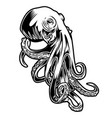 octopus drawing black amp white 2 vector image vector image