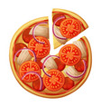pizza top view tomato chicken salami red onion vector image
