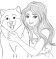 please young lady with a dog vector image vector image