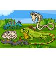 reptiles and amphibians group cartoon