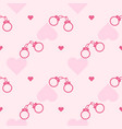 romantic pattern with a pink handcuffs vector image