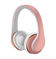 rose headphones icon realistic style vector image vector image