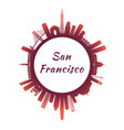 san francisco skyline with colorful buildings vector image