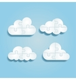 set different puzzle clouds vector image vector image