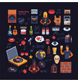 set of music theme accessories pixel art sprites vector image