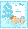 Sleeping baby boy in a blue frame vector image vector image