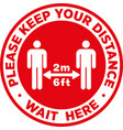 social distancing signage or floor sticker vector image
