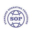 sop stamp - standard operating procedure emblem vector image vector image
