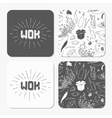 Square table coaster templates set with doodle wok vector image vector image
