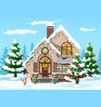 suburban house covered snow vector image vector image