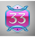 Thirty three years anniversary celebration silver vector image vector image